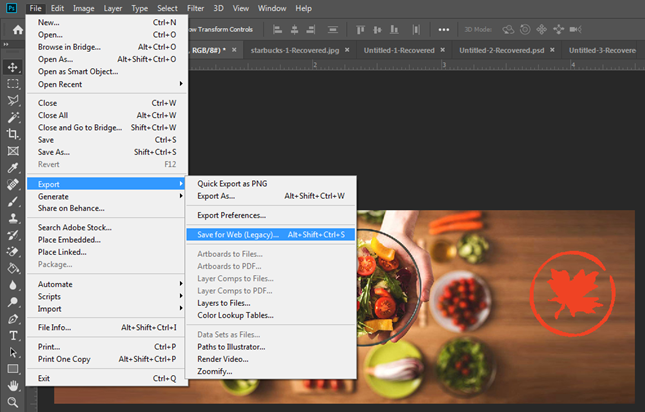 photoshop menu